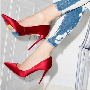 ALDO red satin pointed toe heels